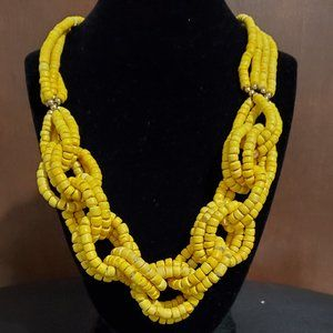 Yellow Wood Interlock Necklace